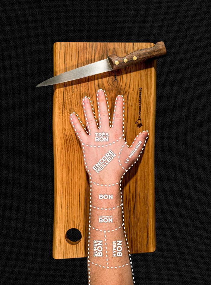 Main A Couper image d'une planche à découper en chêne des Vosges