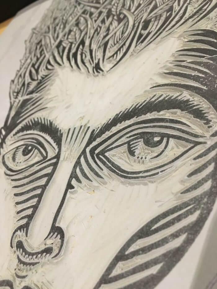 Gravure réalisée en pensant à Edgar la chanson de Jean Leloup