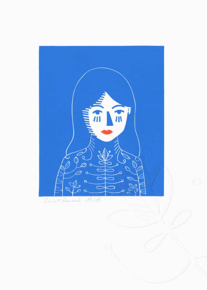 Isabella, les yeux bleus – linogravure 2 couleurs et un gaufrage Atelier-Atelier