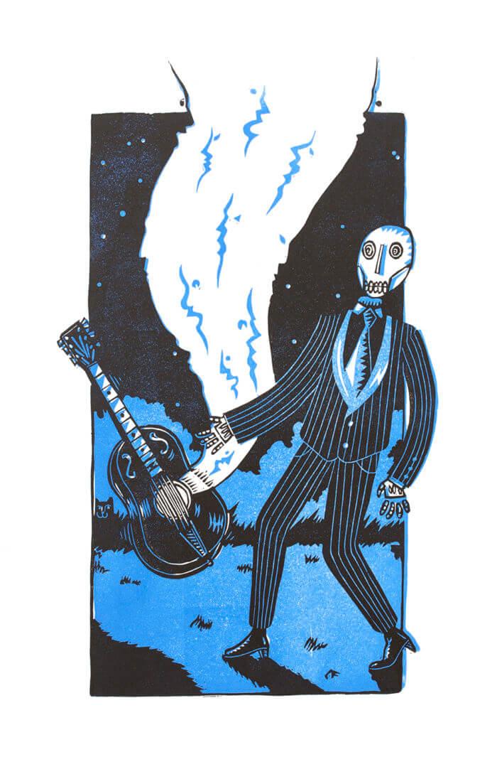 Blues diabolique, linogravure 2 couleurs Atelier-Atelier