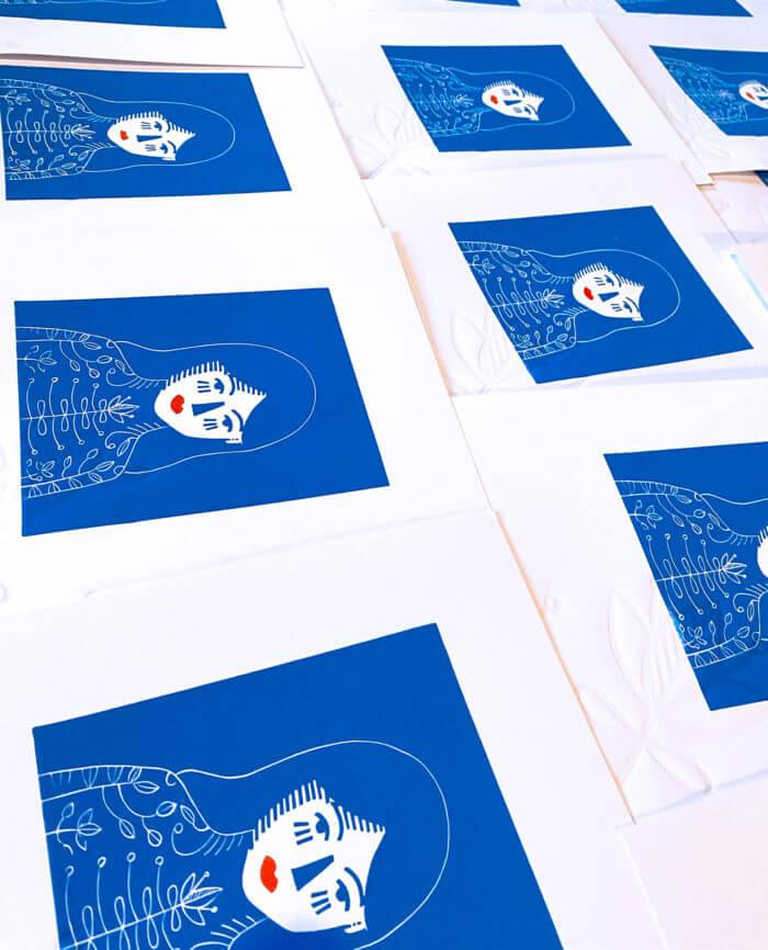 Tirage de gravure linoleum à l'Atelier de Cadet Roussel