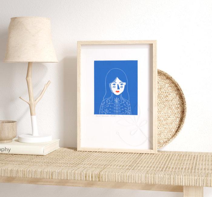 Isabella, les yeux bleus – linogravure 2 couleurs et 1 gaufrage Atelier-Atelier