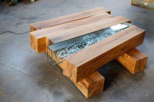 Table basse bois en poutres de chêne par l'Atelier Cream